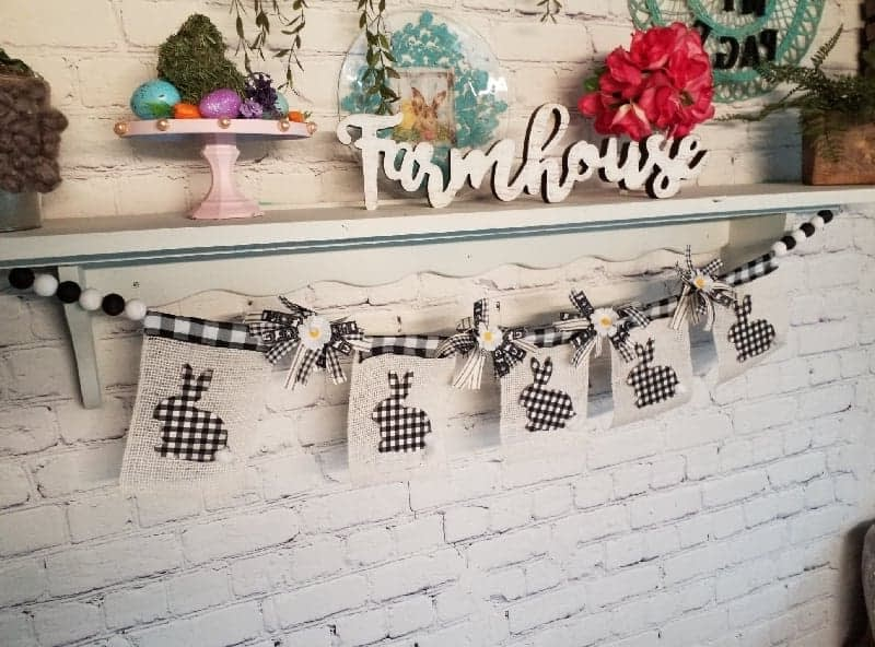 DIY rustic bunny banner using Mod Podge,Dixie Belle and Dollar Tree products