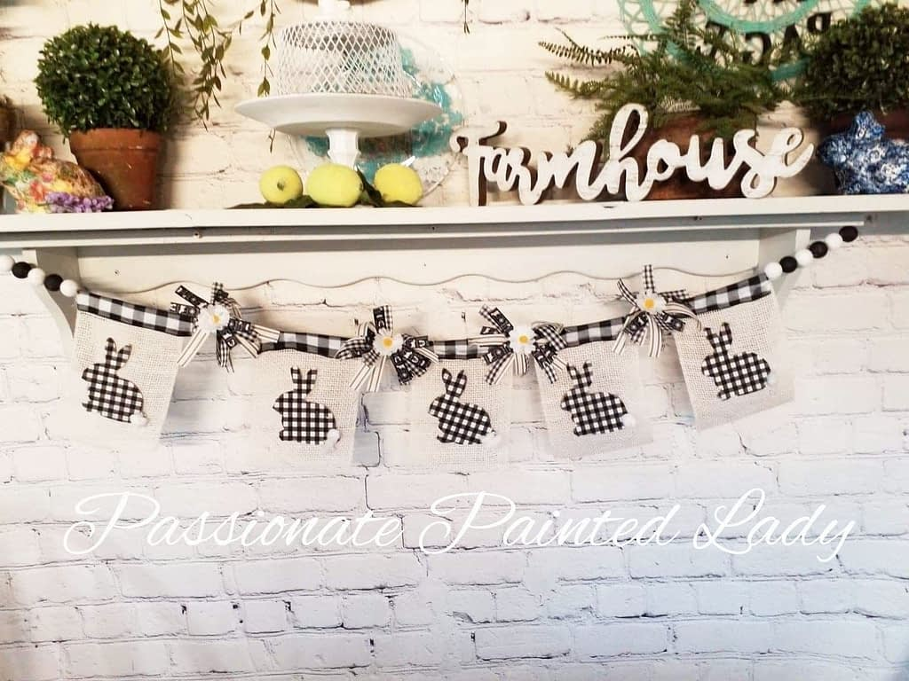 DIY bunny banner using Mod podge , Dixie Belle and Dollar tree products