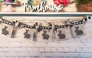 DIY rustic bunny banner using Mod Podge, Dixie Belle and Dollar Tree products