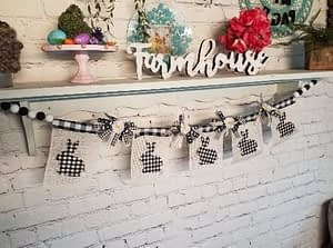 DIY rustic bunny banner using Dollar Tree, Dixie Belle and Mod podge