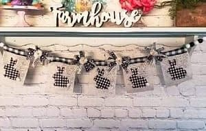 DIY rustic bunny banner using Mod Podge,Dixie Belle and Dollar Tree prouducts